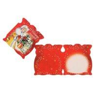Открытка-мини  с новым годом!  красный фон, снегурочка, заяц