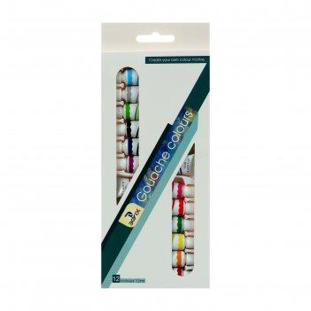 Краски гуашь, 12 цветов, в пластиковой тубе, 12 мл, в картонной коробке