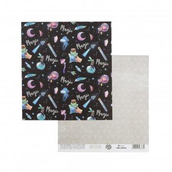 Бумага для скрапбукинга «магия космоса», 15.5 x 17 см, 180 г/м