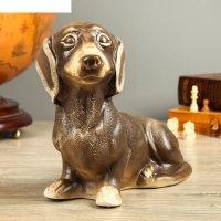 Фигура садовая собака такса, шамот