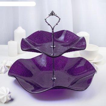 Этажерка 2-ярусная 30х21 см, цвет фиолетовый, подарочная упаковка, основан
