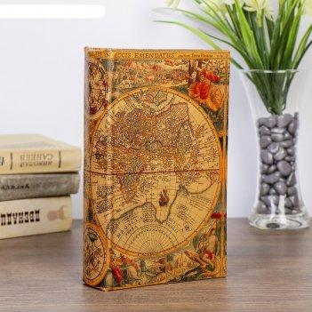 Сейф-книга кожа старинные карты мира