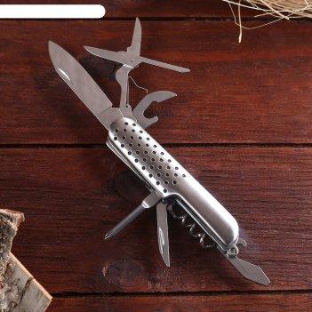 Нож швейцарский мастер к. 7в1, рукоять с перфорацией, хром