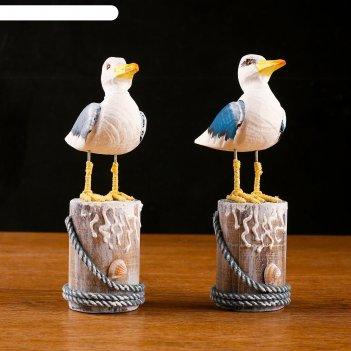 Сувенир интерьерный чайка на пне 11х7х21см  микс
