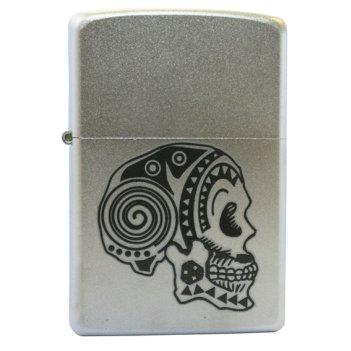 Зажигалка zippo tattoo skull satin chrome