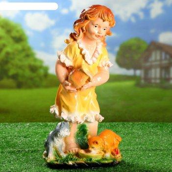 Садовая фигура девочка с котятами цветной