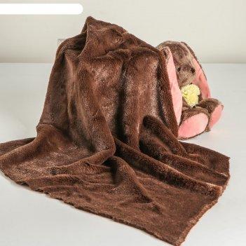 Лоскут для рукоделия 50*50см мех темно коричневый на трикотажной основе