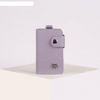 Ключница, 2 отдела, 7 карабинов, на кнопке, цвет фиолетовый