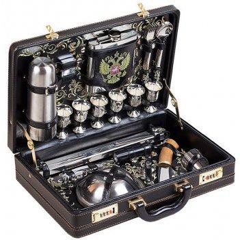 Набор подарочный в чемодане «люкс» (6 персон) черный
