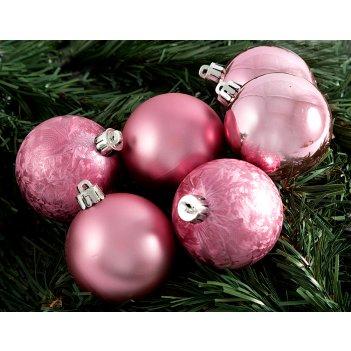 """Набор ёлочных игрушек """"шары"""" из 6шт. 60мм, розовый"""