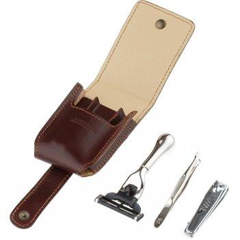 Дорожный бритвенный набор il ceppo в коричневом чехле: станок, пинцет, кни