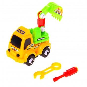 Конструктор для малышей грузовик-экскаватор, цвета микс