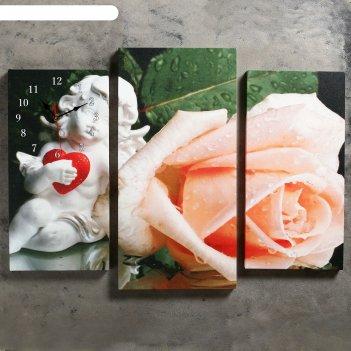 Часы настенные модульные «ангел и роза», 60 x 80 см