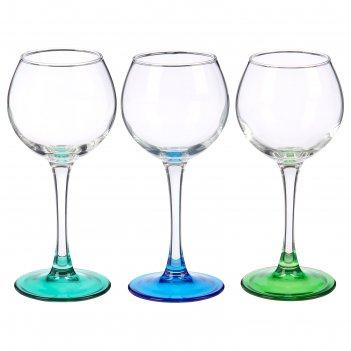 Набор бокалов для вина 3 шт 210 мл эдем лак микс