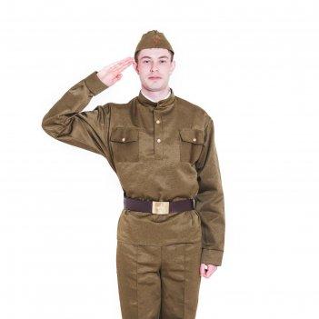Комплект военный мужской, пилотка, гимнастёрка, ремень с бляхой, р-р 50-52