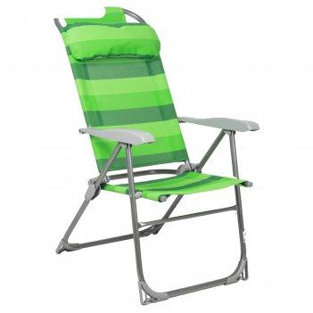 Кресло-шезлонг складное 2 сетка зелено-белый к2