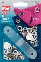 Непришивные кнопки джерси (латунь) зубчатое кольцо, белый цвет 10 мм, 10 ш