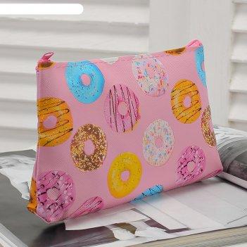 Косметичка простая пончики, 18*1*10, отдел на молнии, розовый