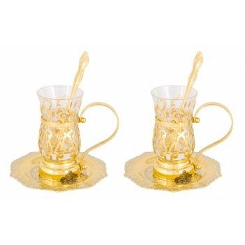 Набор чайный восточный ( 2 тарели, 2 стакана, 2 ложки)