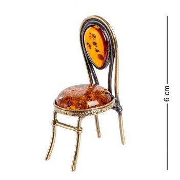 Am-1340 фигурка стул (латунь, янтарь)