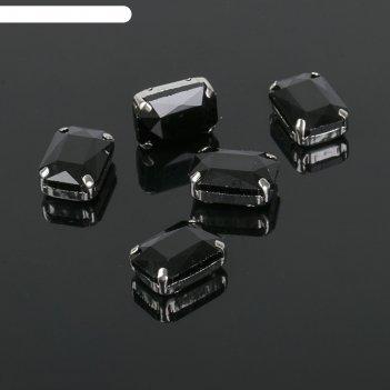 Стразы в цапах (набор 5шт), 10*14мм, цвет черный в серебре