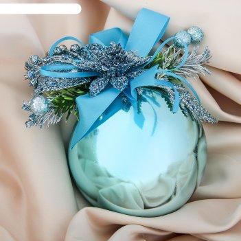 Шар пластик декор d-10 см новогодний цветок