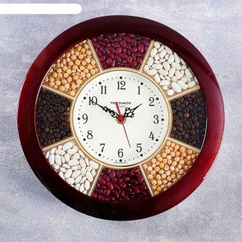 Часы настенные, серия: кухня, специи, бордовый обод, 29х29 см