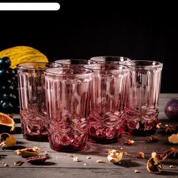 Набор стаканов 350 мл ла-манш, 6 шт, цвет розовый