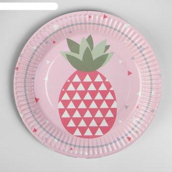 Тарелка бумажная ананас, 18 см, набор 6 шт., цвет розовый