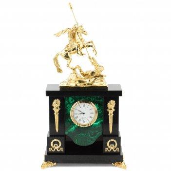 Часы георгий победоносец малахит долерит бронза 170х95х330 мм 3600 гр.