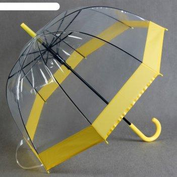 Зонт полуавтоматический кант, трость, r=60см, цвет жёлтый