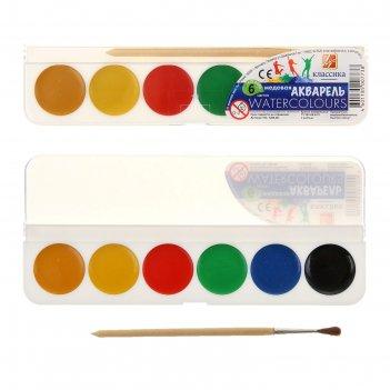 Акварель «луч классика», 6 цветов, в пластиковой коробке, с кистью