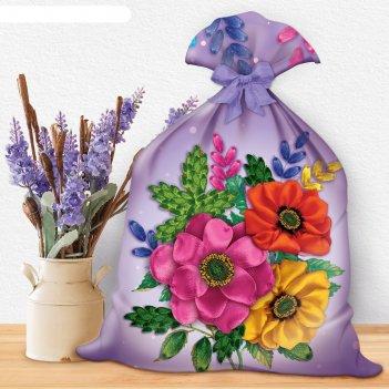 Вышивка лентами на мешочке цветы, 35 х 25 см