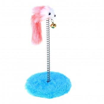 Дразнилка для кошек на пружине с мышью (5 см), 10,5 х 23 см, микс цветов