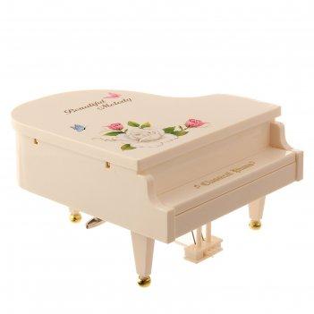 Шкатулка пластик музыкальная механическая рояль с цветами белый завод.ключ
