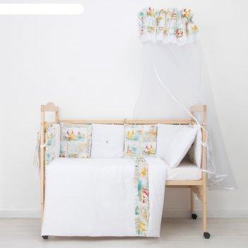 Комплект в кроватку (10 предметов) ялта, принт бежевый 343