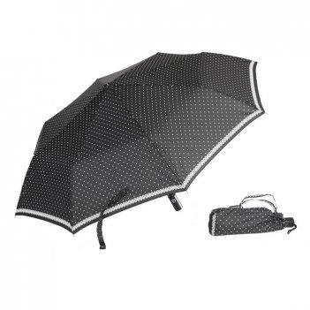 Зонт 23, полный автомат (белые горохи на черном)