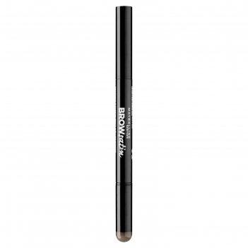 Тени-карандаш для бровей maybelline brow satin, тон 04, темно-коричневый