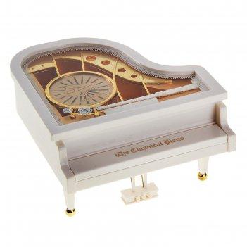 Шкатулка музыкальная механическая белый рояль