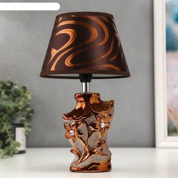 Лампа настольная 16278/1br+gd е14 40вт коричнево-золотой 17х17х29 см