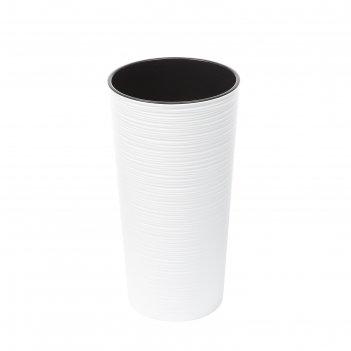 Пластировый горшок со вставкой «лилия джутто», цвет белый