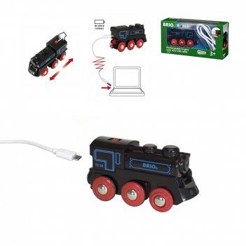 Brio подзаряжаемый ретро-паровоз с mini usb кабелем,движ.,свет,звук,20х5х1