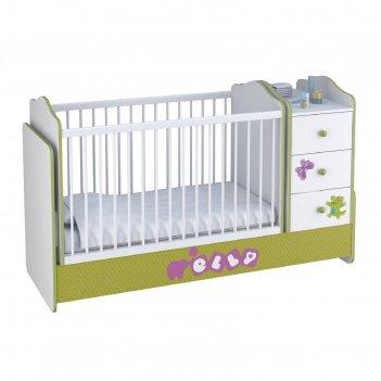Кроватка-трансформер polini kids basic elly, цвет белый-зелёный