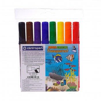 Фломастеры утолщённые centropen transparent 8580, 1-6 мм, 8 цветов, длина