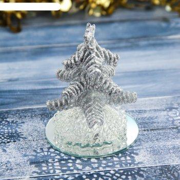 Фигурка стекло d-7,5 см елочка кудрявая серебро