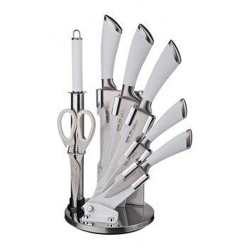 Набор ножей agness нжс с силиконовыми ручками на пластик. подставке 8 пр.