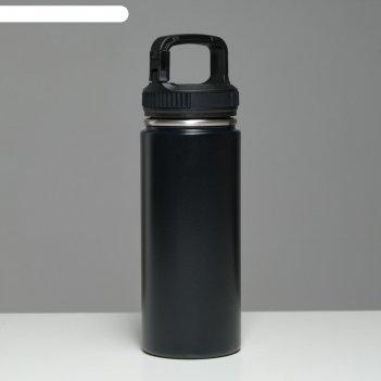 Термос турист 550 мл, сохраняет тепло 24 ч, крышка карабин, чёрный