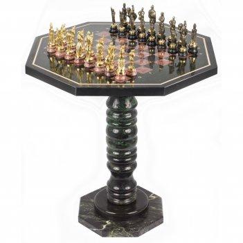 Шахматный стол фигуры русские на подставках бронза лемезит 600х600х620 м