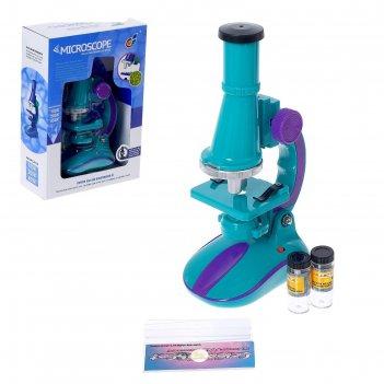 Микроскоп детский с набором для исследований, цвета микс