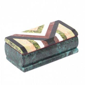 Каменная шкатулка мозаика 15х7х5 см